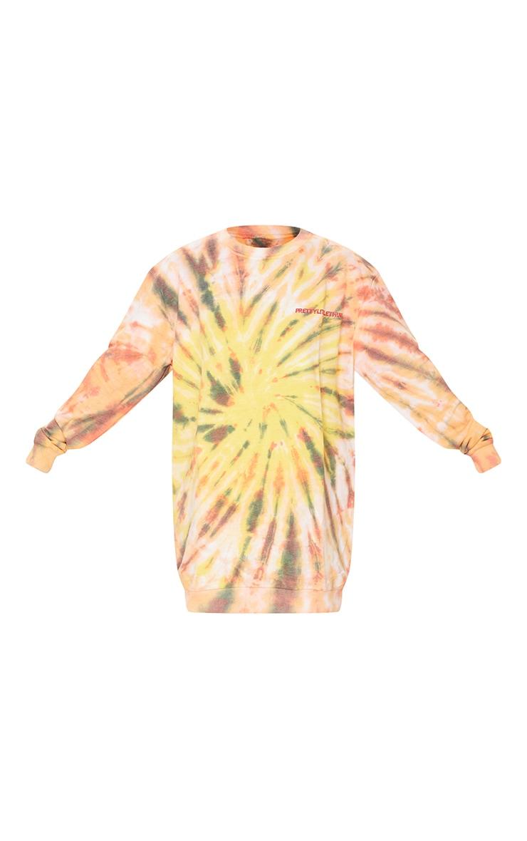 PRETTYLITTLETHING Orange Tie Dye Effect Sweat Jumper Dress 6