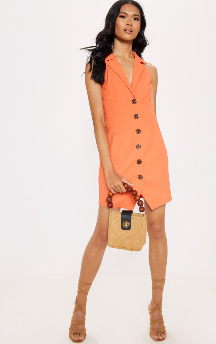 Tangerine Sleeveless Button Front Blazer Bodycon Dress 1