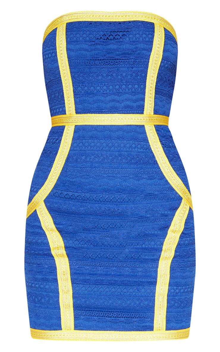Cobalt Bandeau Lace Trim Detail Bodycon Dress 3