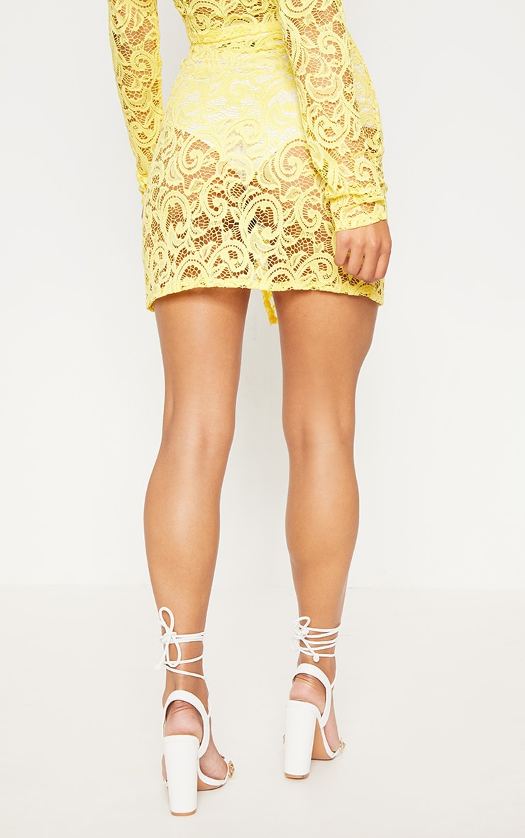 Yellow Lace Mini Skirt With Split 4