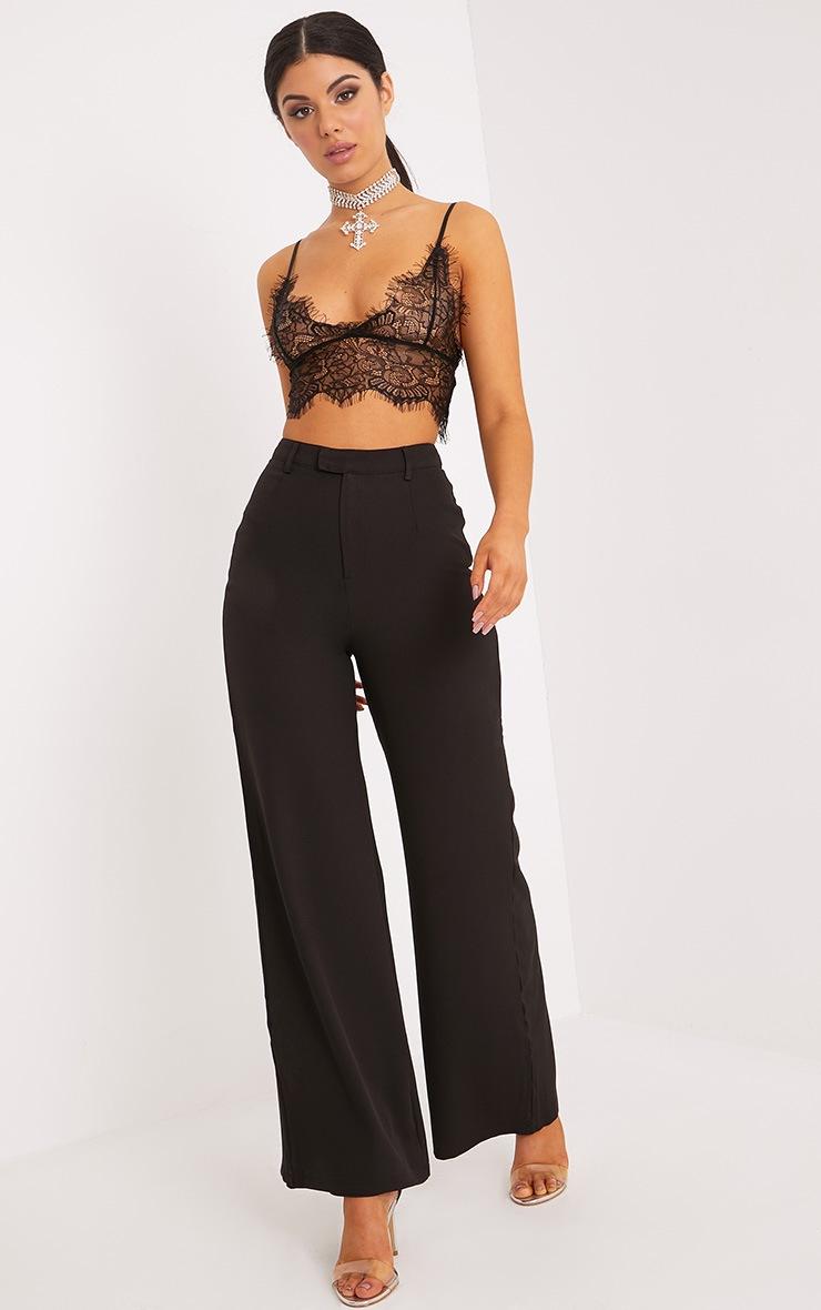 Reemah Black Wide Leg Crepe Trousers 1