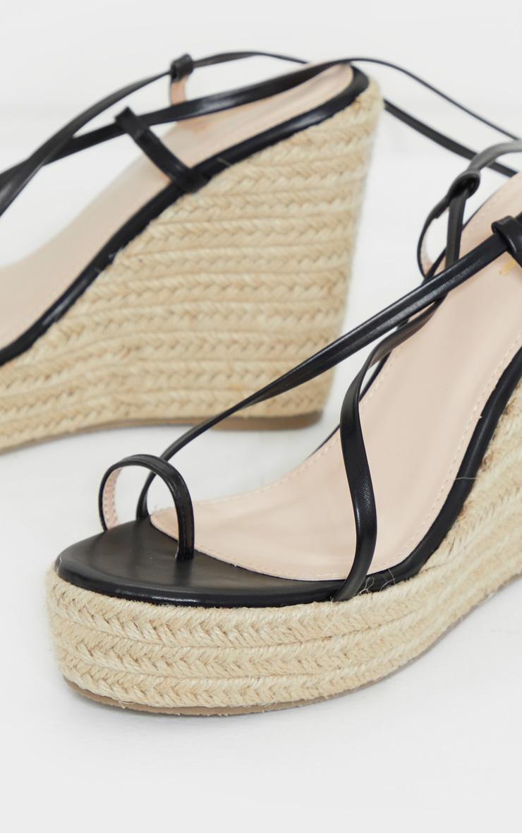 Black Toe Loop Ankle Tie Espadrille Wedges 3