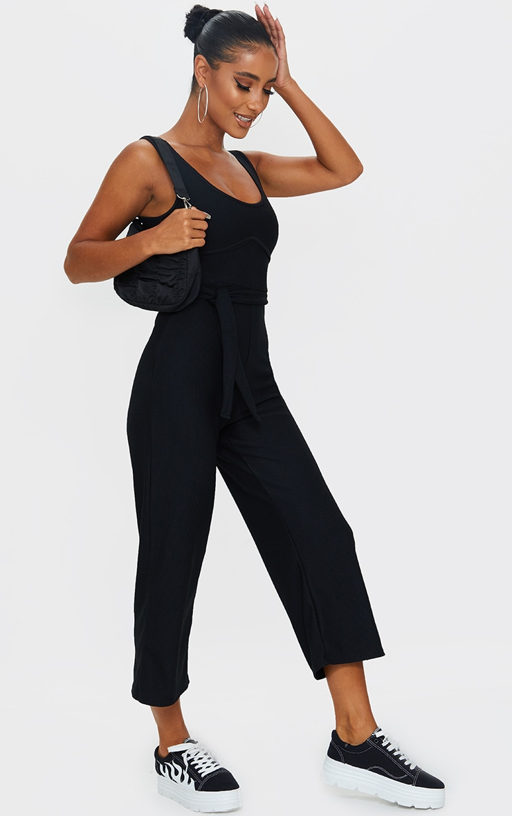 Black Thick Rib Underbust Binding Culotte Jumpsuit 3