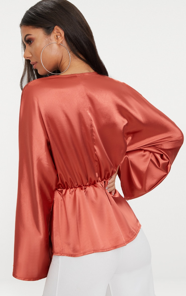 Burnt Orange Satin Plunge Pocket Detail Blouse      2
