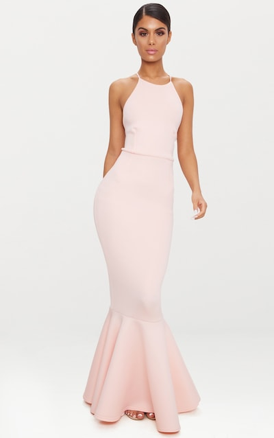 Nude Cross Back Fishtail Maxi Dress