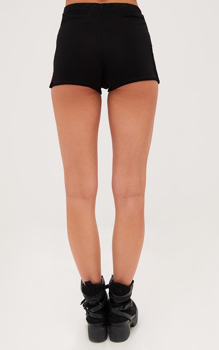 Black Contrast Stripe Track Shorts 3
