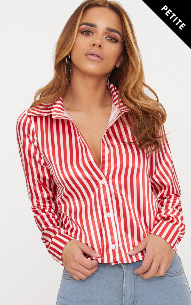 Petite Red Satin Stripe Cropped Shirt 1