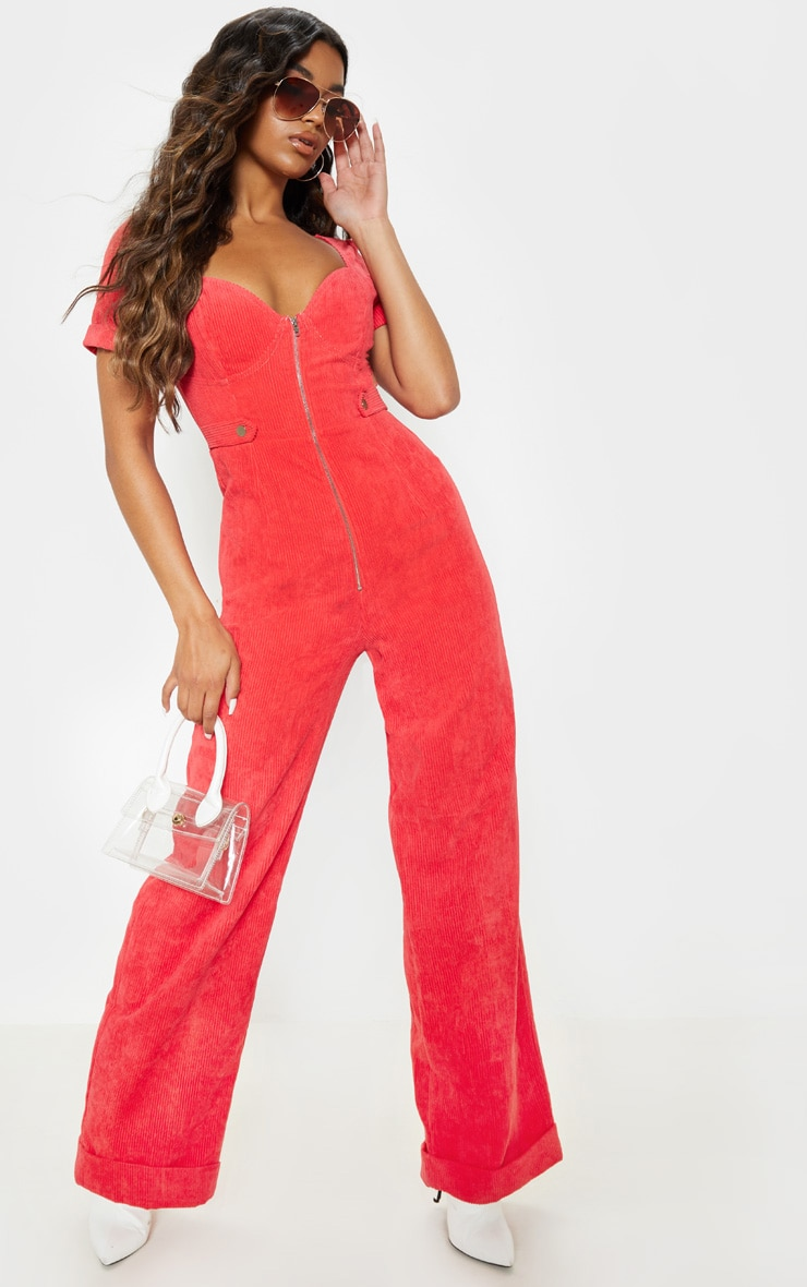 Red Sweetheart Neckline Wide Leg Cord Jumpsuit
