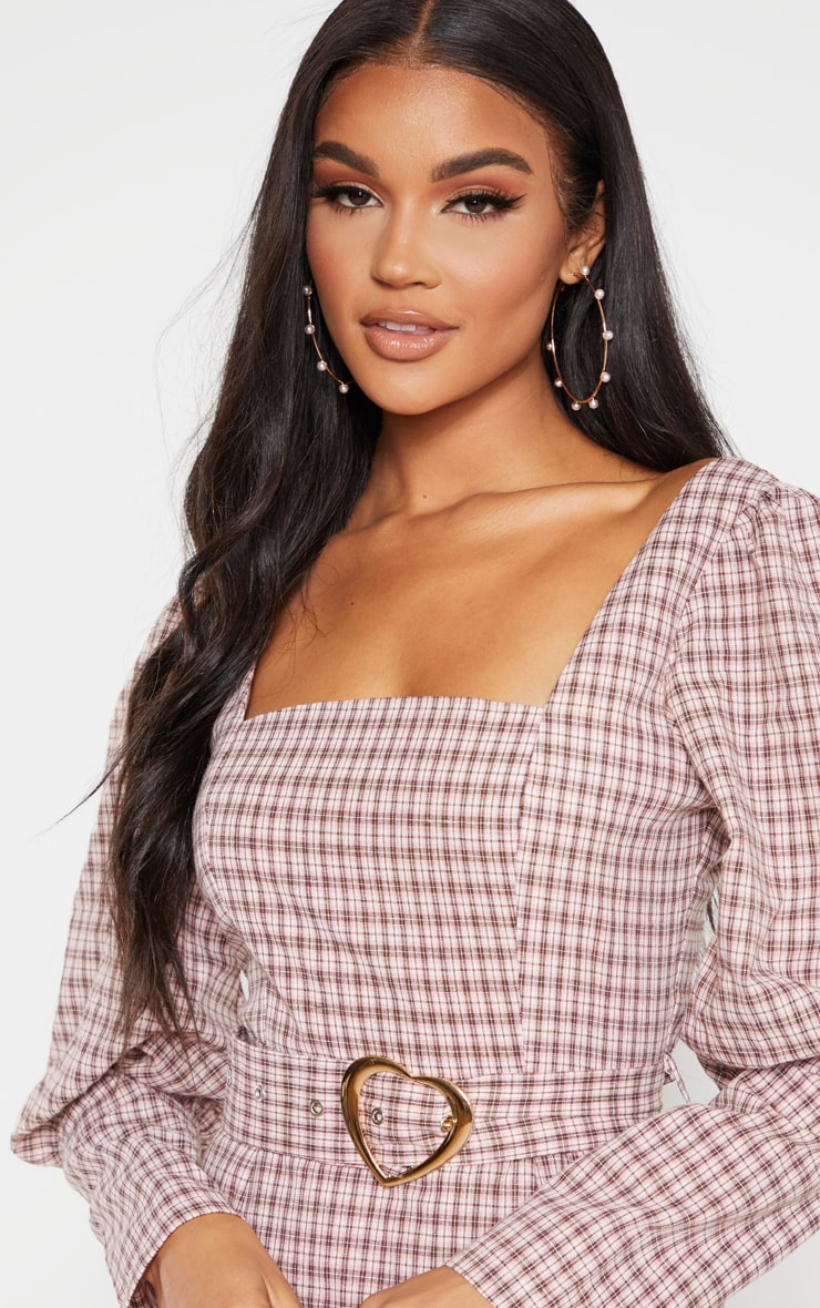 Pink Check Square Neck Puff Sleeve Belted Shift Dress 5