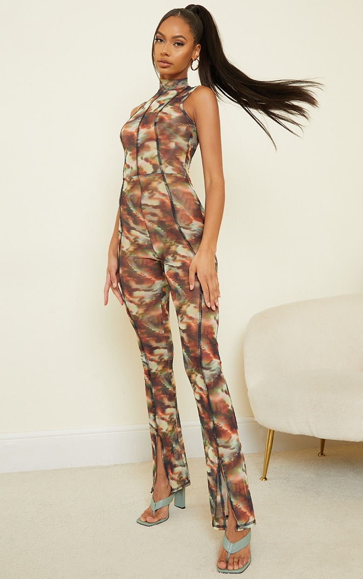 Green Marble Print Contrast Stitch High Neck Mesh Jumpsuit image 3