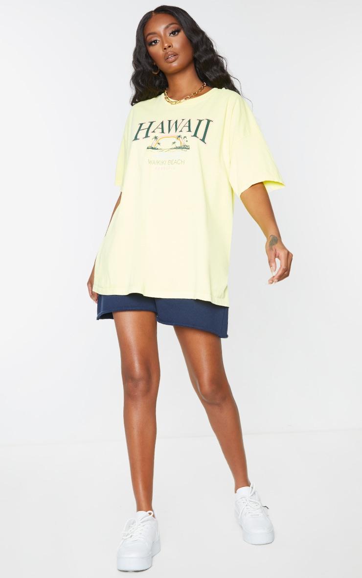 Yellow Hawaii Beach Print Washed T Shirt 3