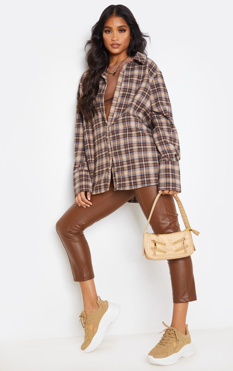 Brown Checked Oversized Shirt 2
