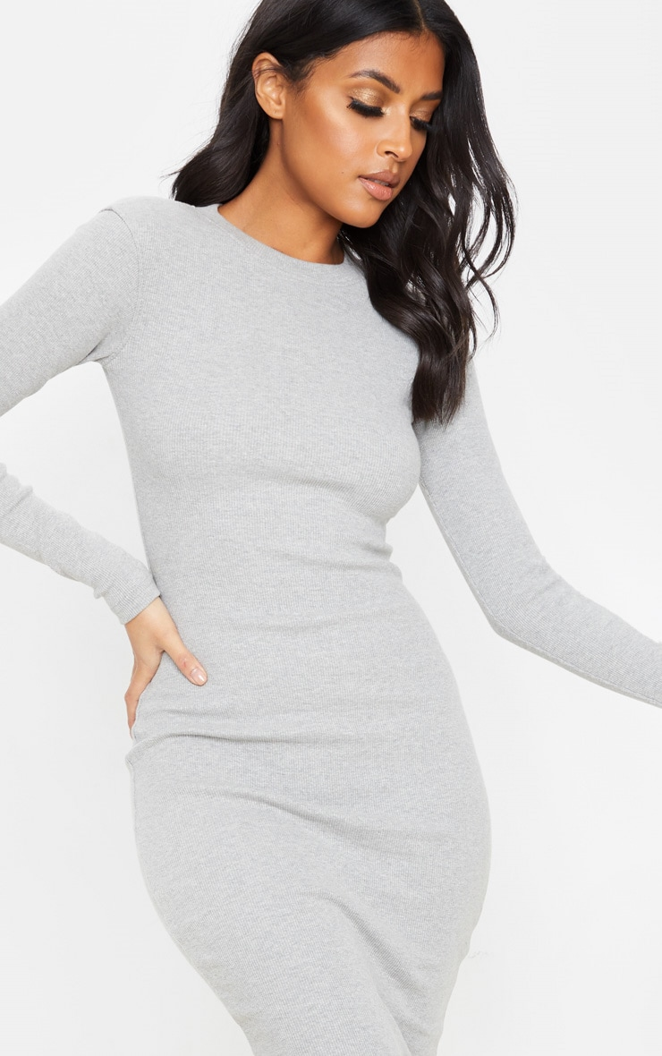 Grey Heavy Rib Long Sleeve Crew Neck Midi Dress 5