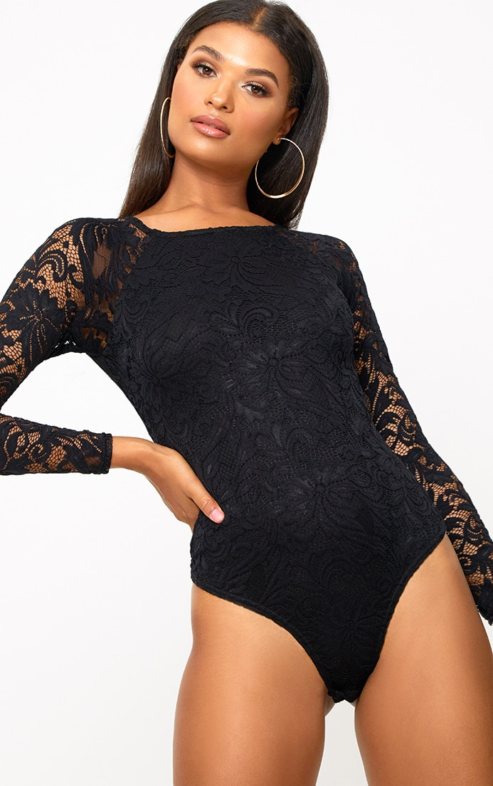 Black Lace Longsleeve Thong Bodysuit 1