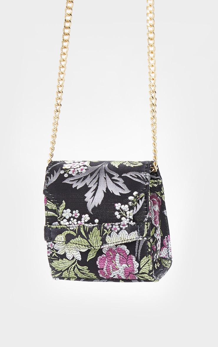 Black Oriental Print Mini Cross Body Bag 3