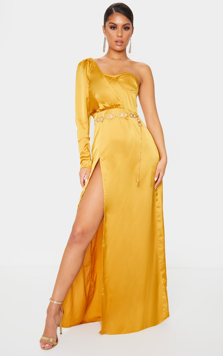Mustard Cup Detail One Sleeve Maxi Dress 1