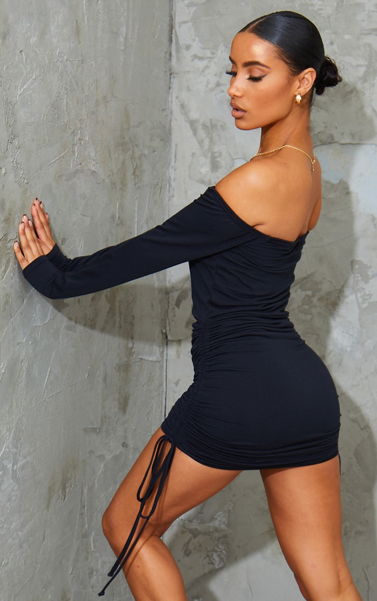 PRETTYLITTLETHING Black Bardot Ruched Bodycon Dress 2