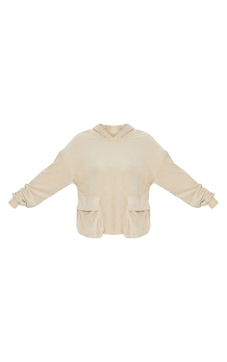 Camel Towelling Oversized Pocket Sweatshirt 5