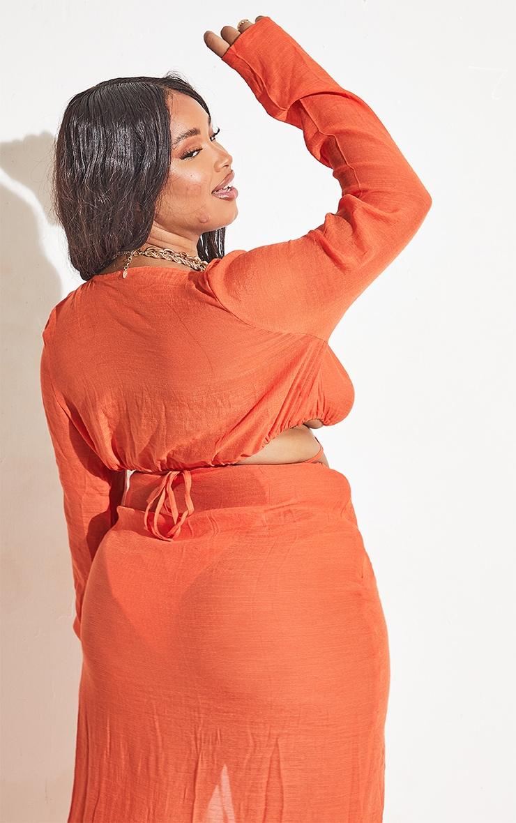Plus Orange Linen Look Long Sleeve Plunge Beach Top 5