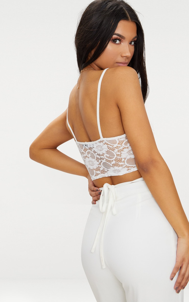 White Lace Harness Detail Bralet  2