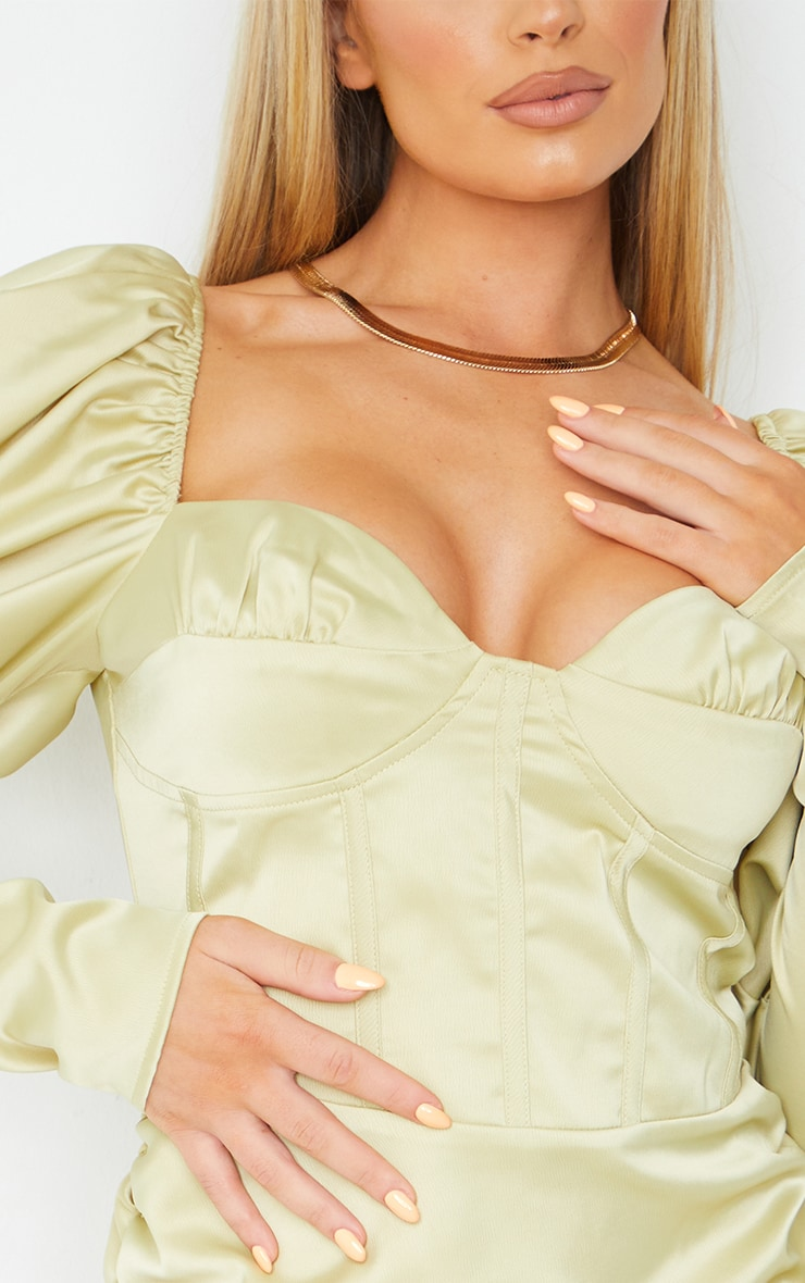 Olive Puff Shoulder Long Sleeve Corset Detail Bodycon Dress 4
