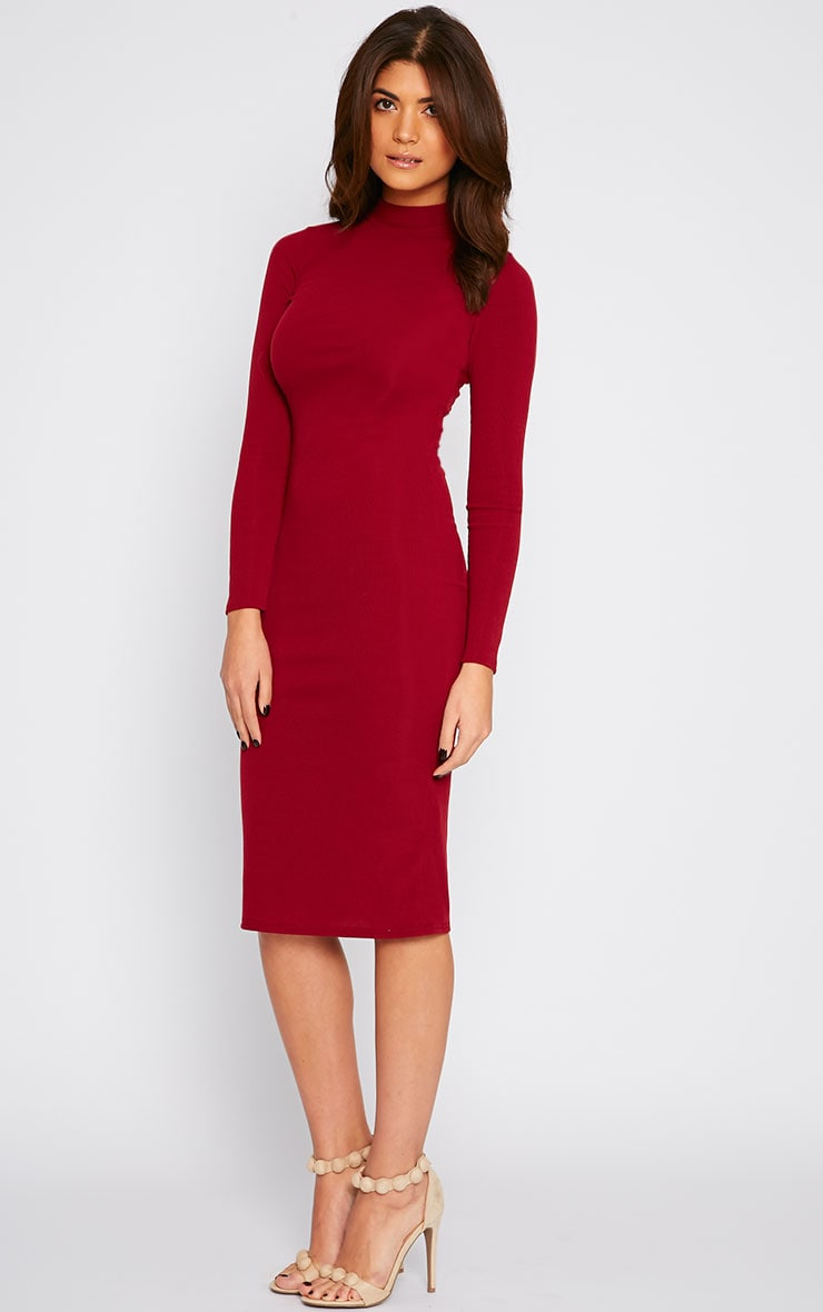 Basic Burgundy Ribbed Turtle Neck Midi Dress 1