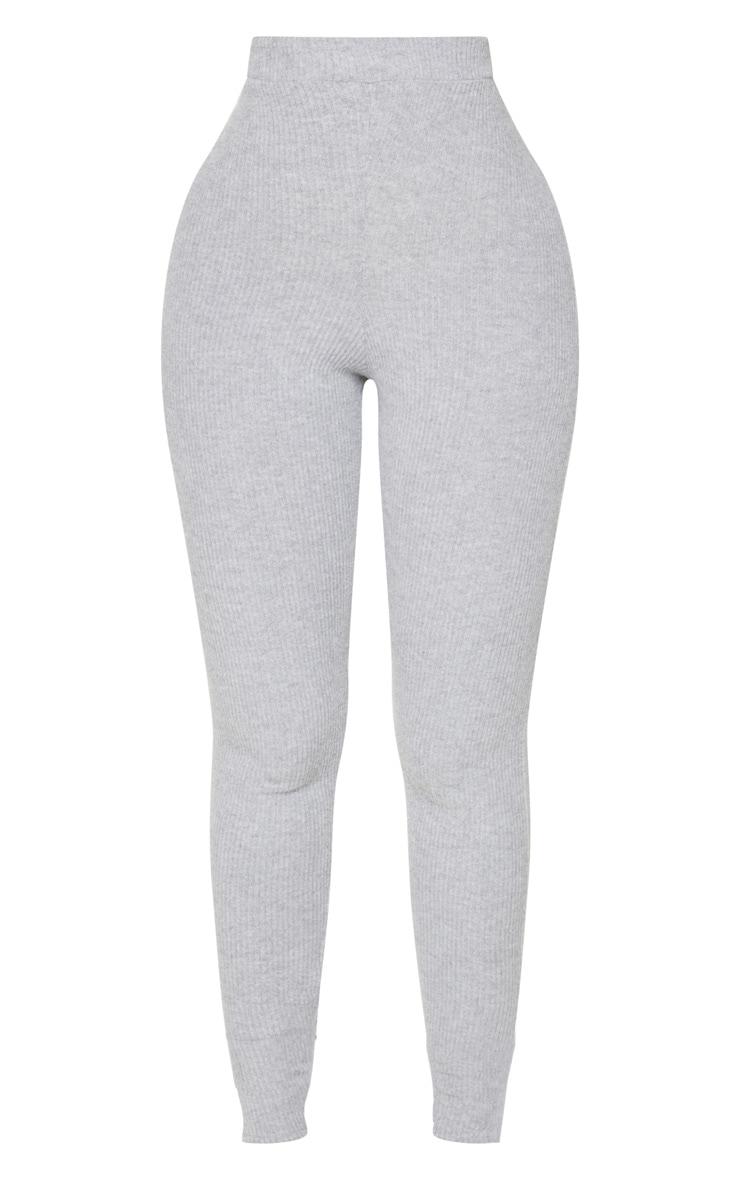 Shape Grey Brushed Rib High Waist Leggings 5