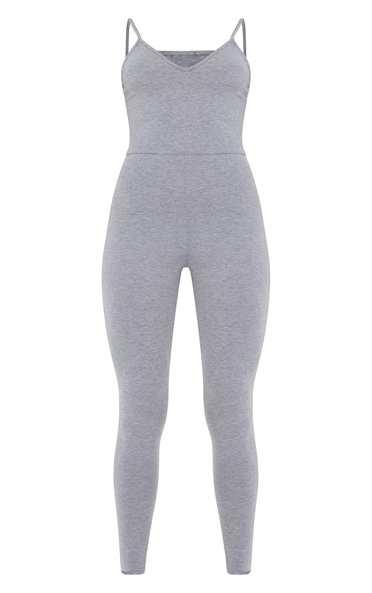 Essential Grey Marl Cotton Blend Basic Strappy Plunge Jumpsuit 5