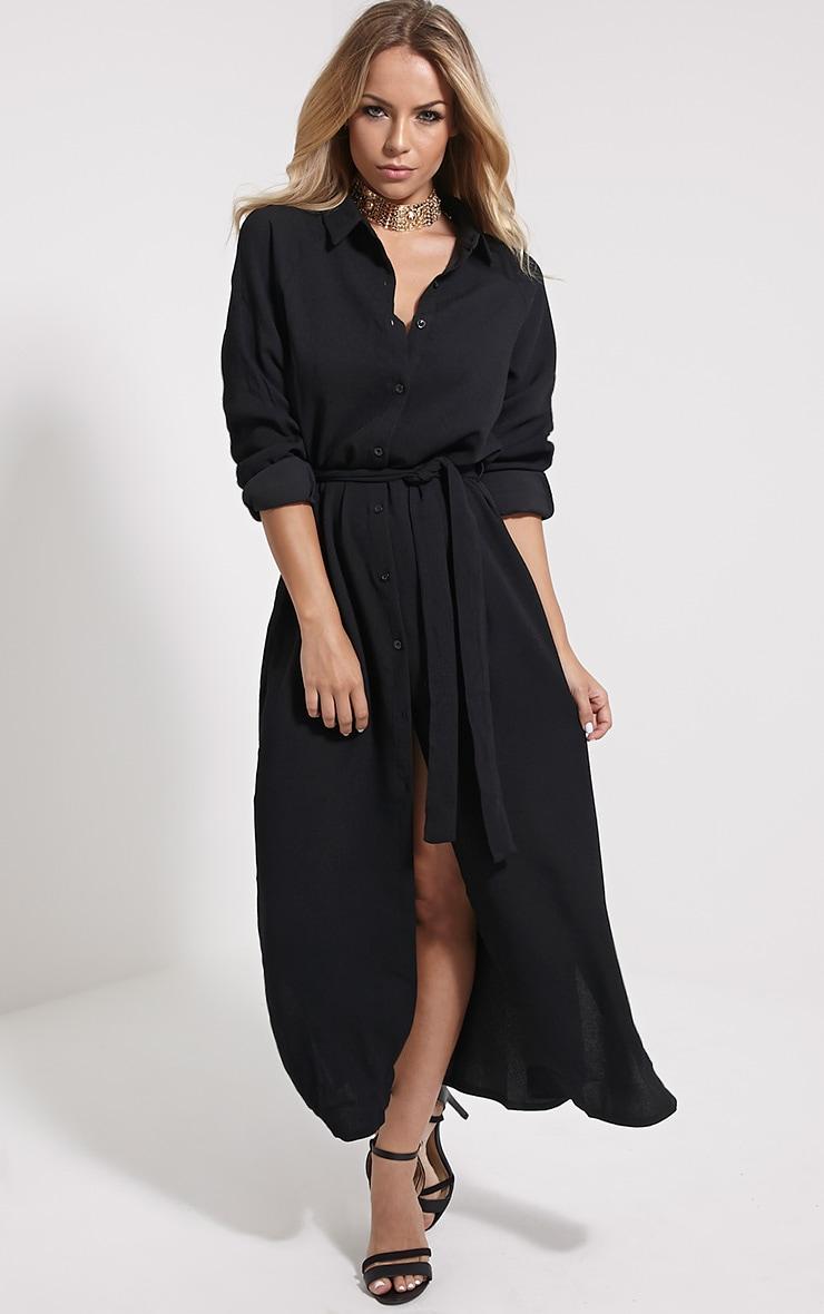 Ayla Black Longline Crepe Shirt Dress 3