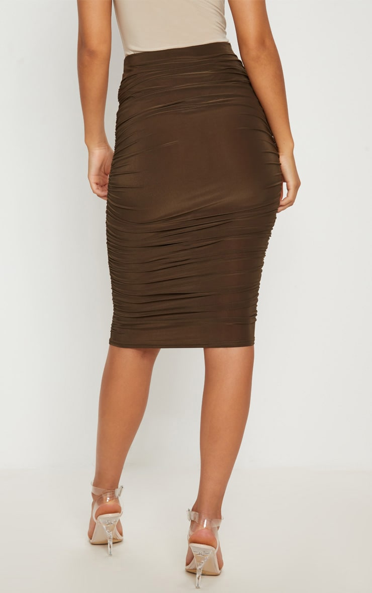 Khaki Second Skin Ruched Side Midi Skirt 4