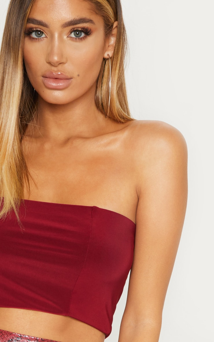 Wine Slinky Bandeau Crop Top 5
