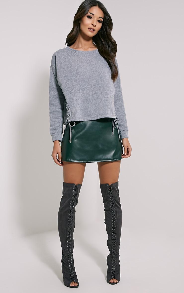 Kiera Grey Lace Up Side Sweatshirt 4