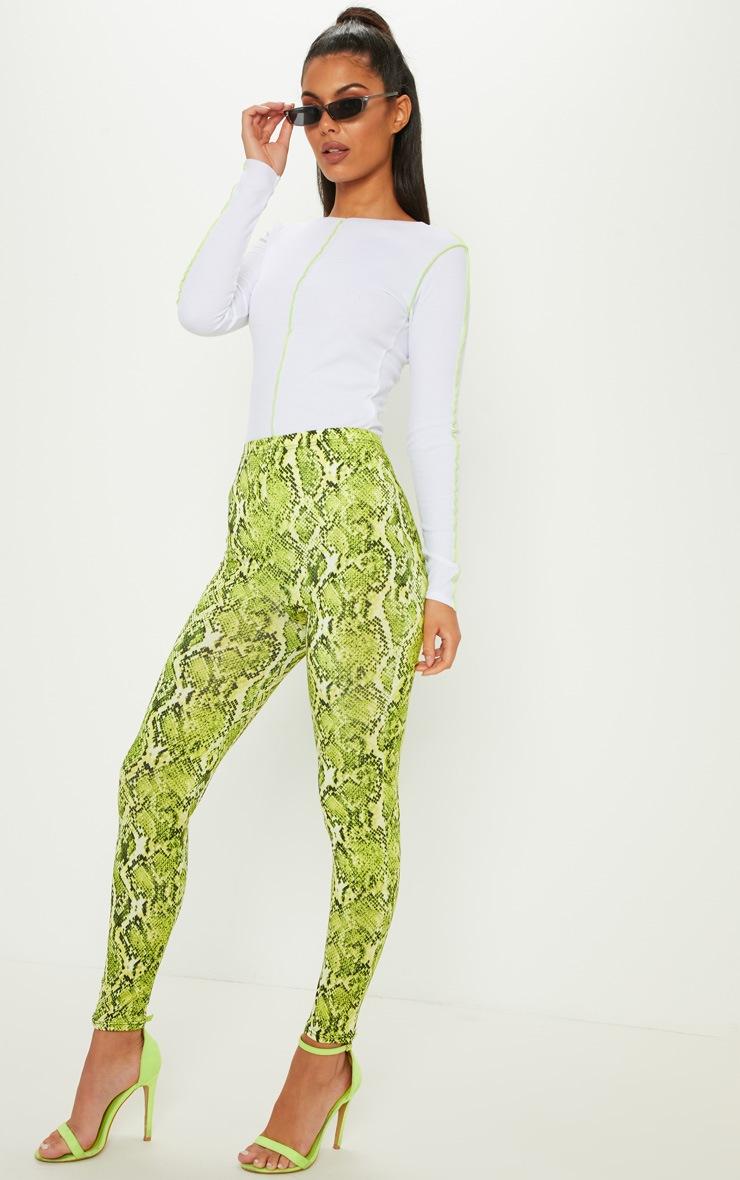 Lime Neon Snake Print Soft Touch Legging 1