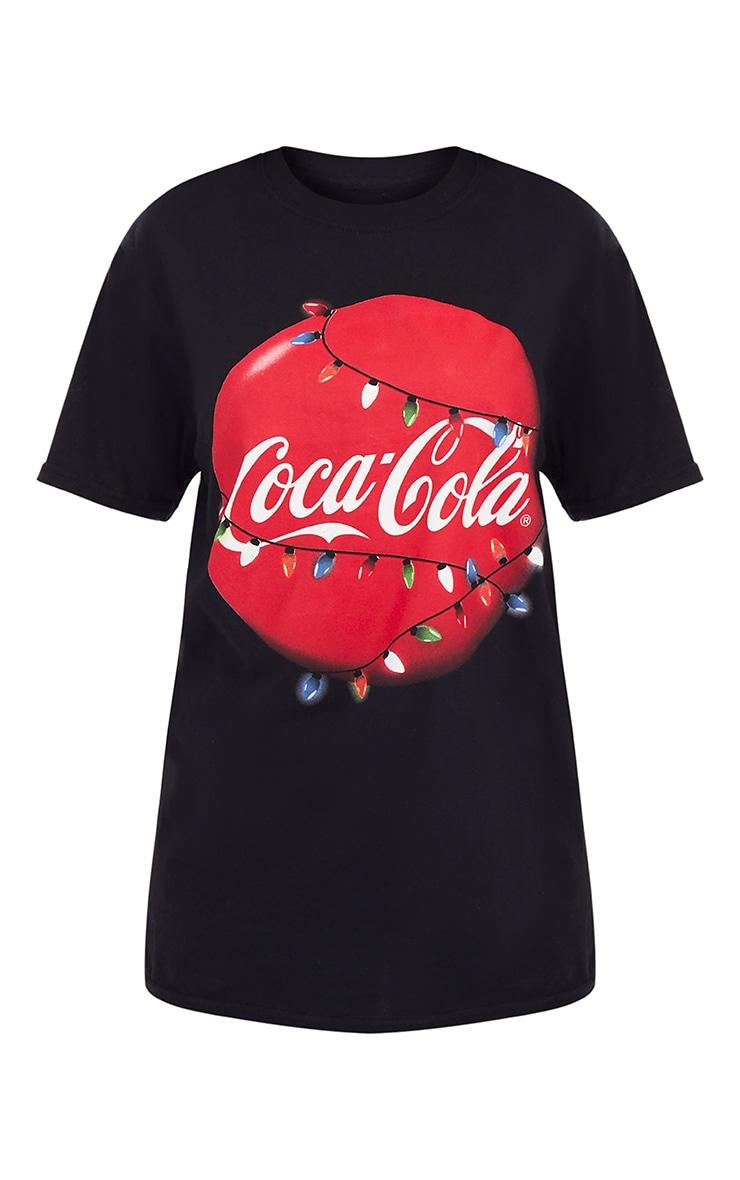 Black Coca Cola License Christmas Slogan T Shirt 3