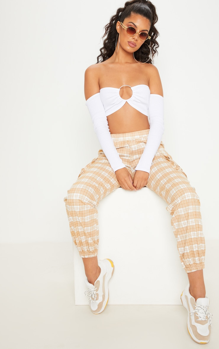 White Ribbed Long Sleeve Ring Crop Top 4