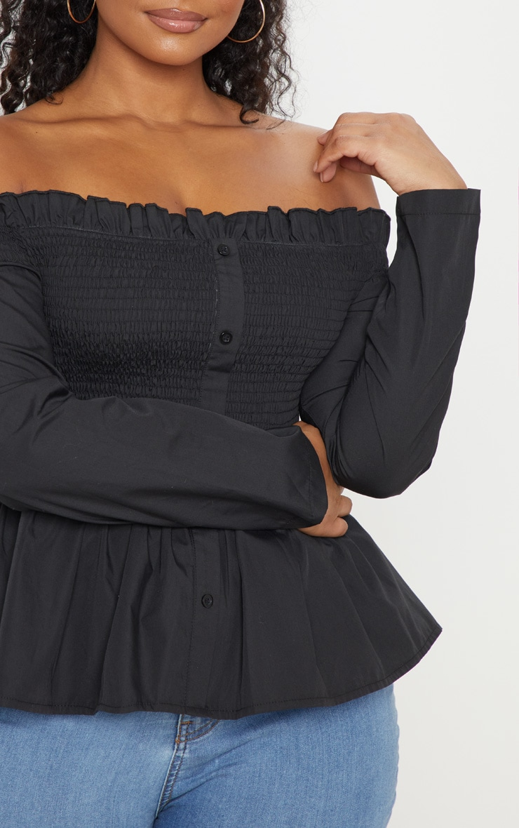 Plus Black Bardot Shirred Button Front Top 5
