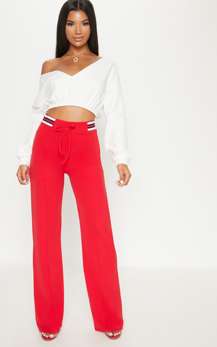 Red Sport Waist Drawstring Trouser 1