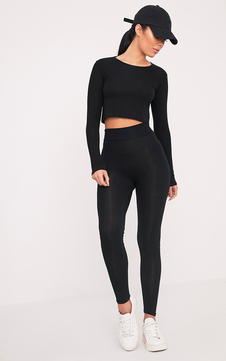 Basic Black High Waisted Jersey Leggings 1