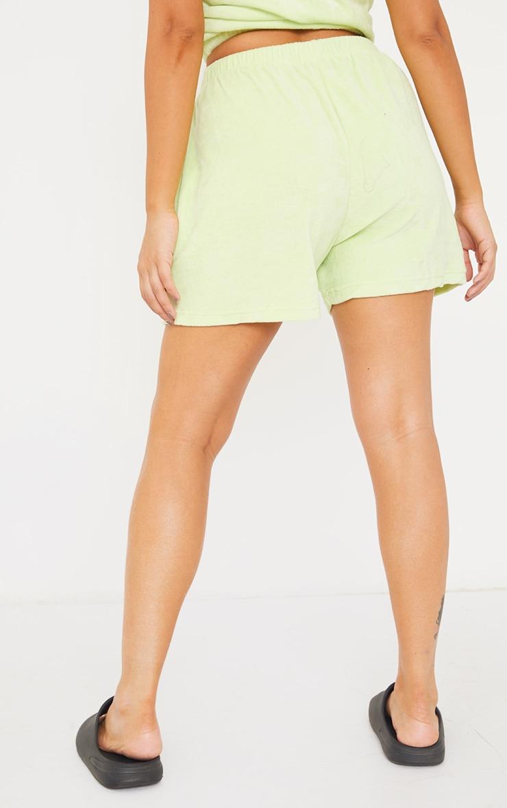 PRETTYLITTLETHING Petite Mint Velour Shorts 3