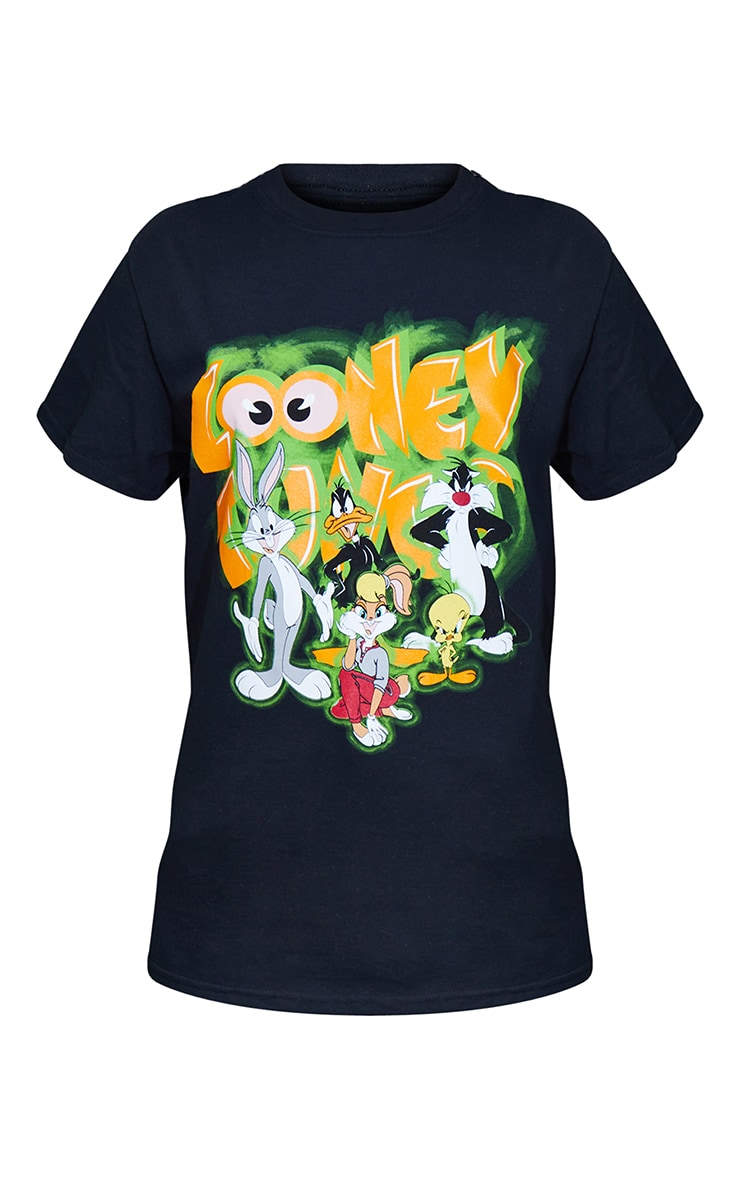 Black Looney Tunes Graphic Printed T Shirt 5