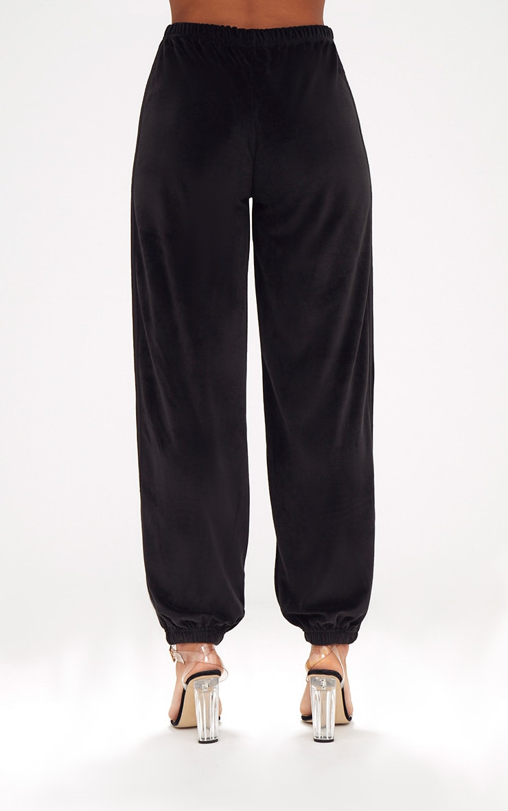 Black Velour Side Stripe Joggers  4
