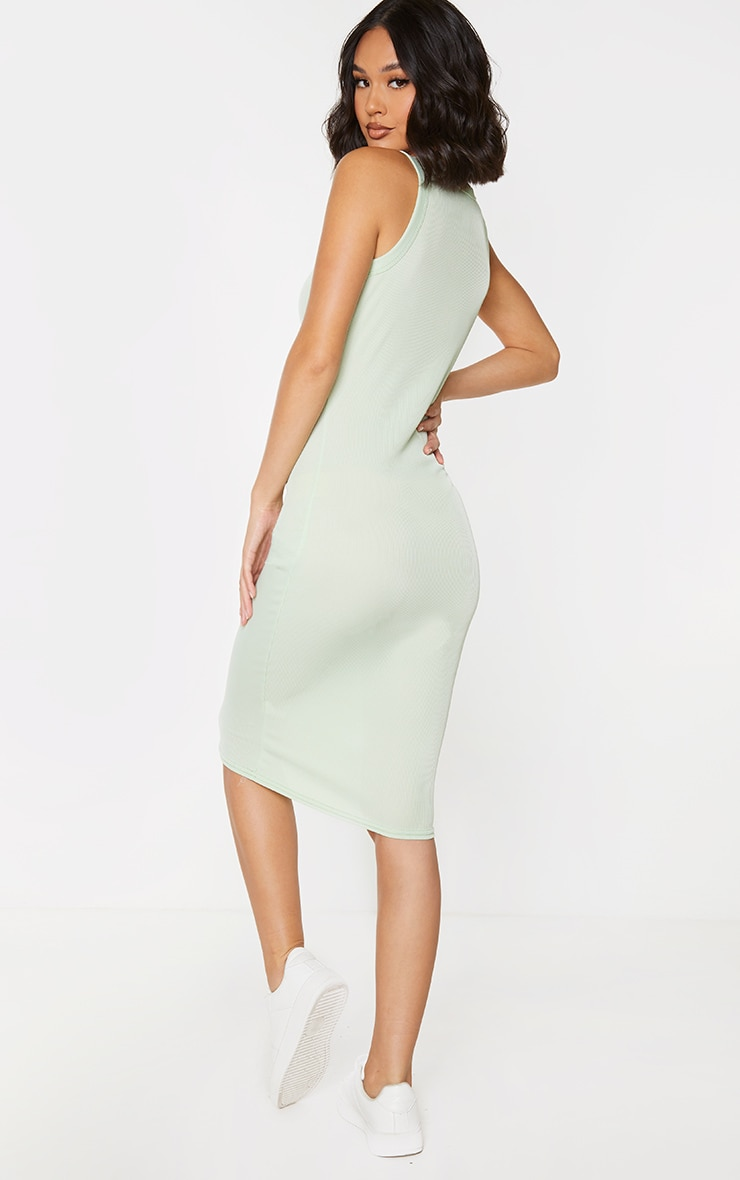 Sage Green Rib Scoop Neck Sleeveless Midi Dress 2