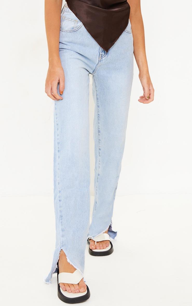 Light Blue Wash Raw Split Hem Straight Leg Jeans 2