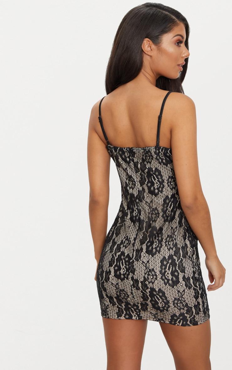 Black Lace Strappy Satin Panel Bodycon Dress 2
