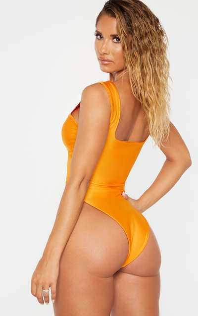 Orange Cut Out Adjustable String Swimsuit
