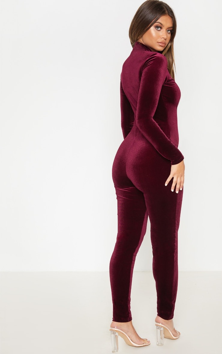 Wine Velvet Zip Front High Neck Jumpsuit 2