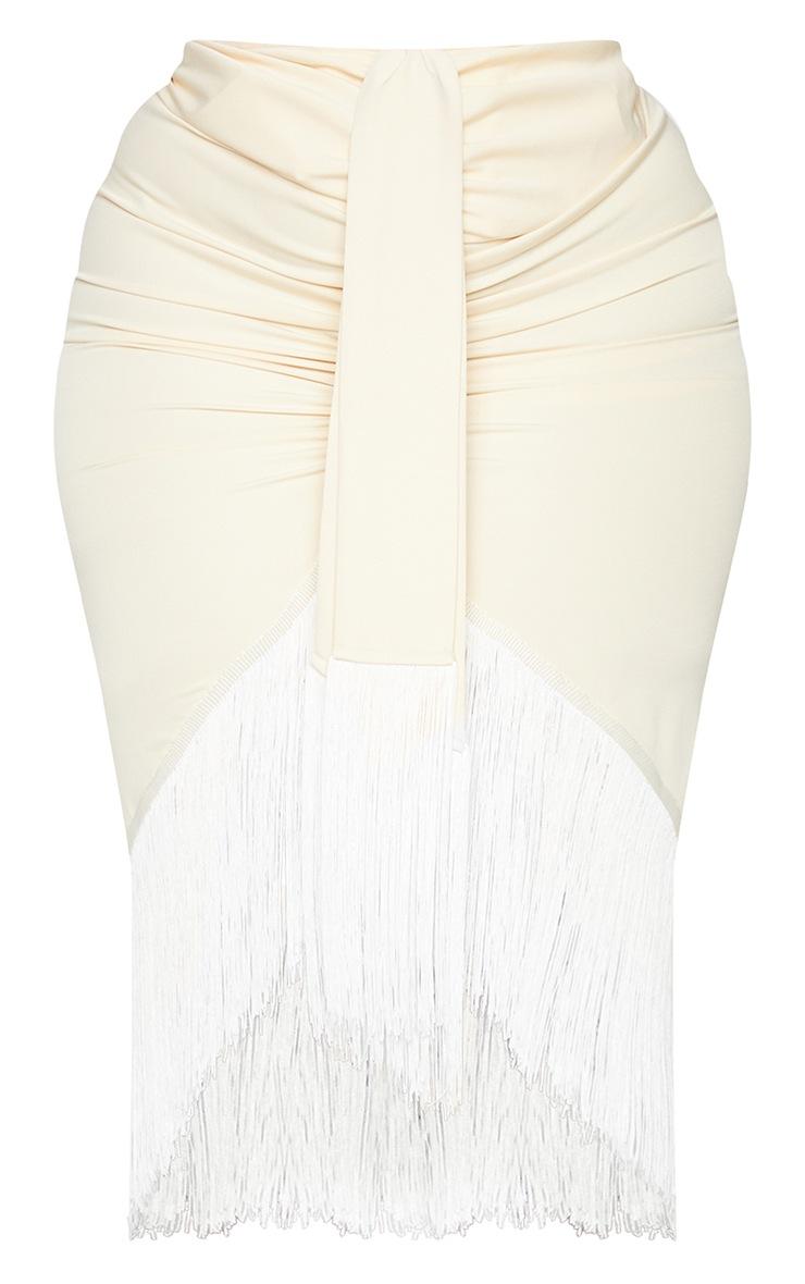 Plus Cream Tassel Hem Midi Skirt 5