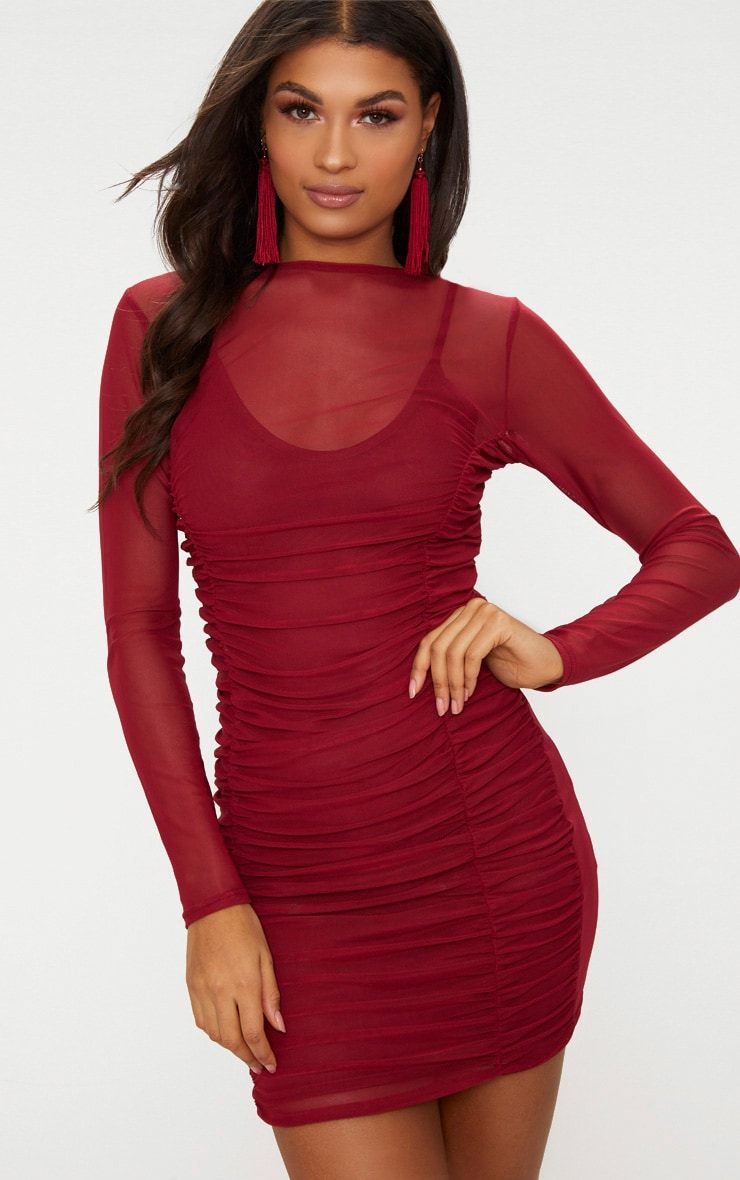 Wine Mesh Ruched Long Sleeve High Neck Bodycon Dress  1