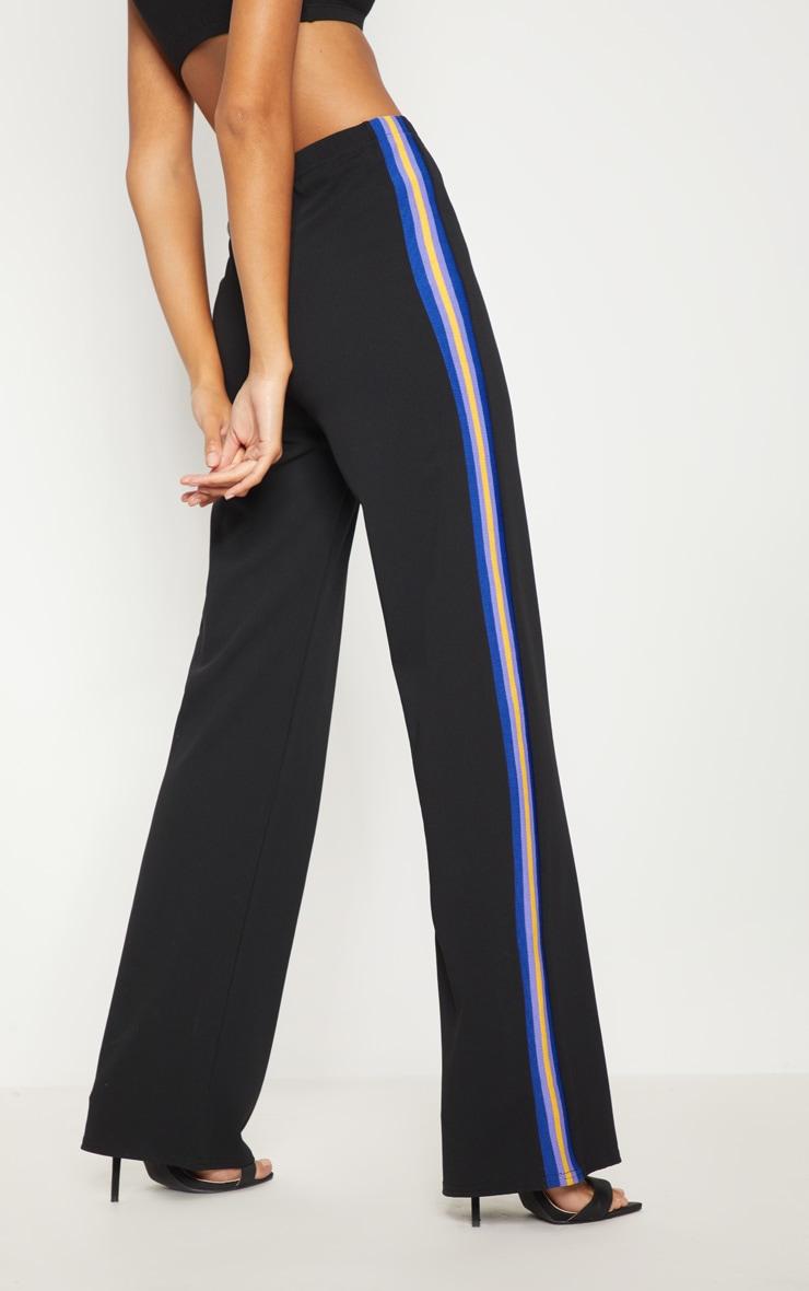 Black Scuba Side Stripe Tape Wide Leg Trouser 4