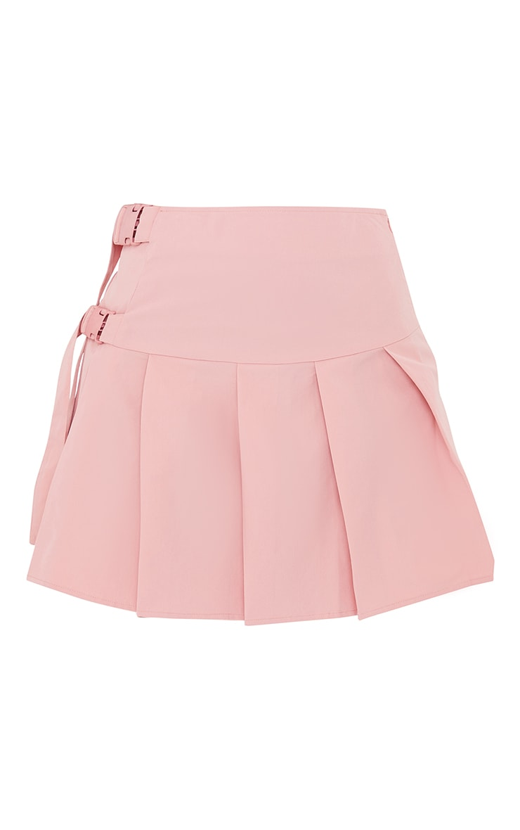 Baby Pink Buckle Detail Woven Pleated Mini Skirt 6